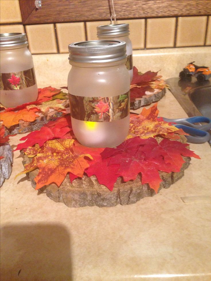 Autumn camo mason jars. Wedding decor