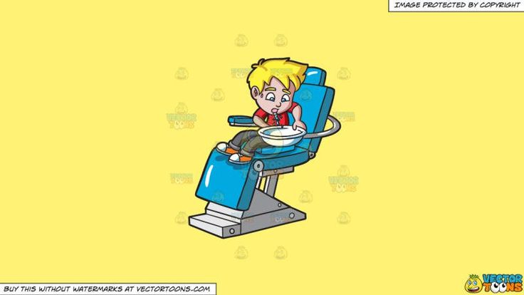 A Boy Gargling Water At The Dentist On A Solid Sunny Yellow Fff275 Background:   A boy with blonde hair wearing gray pants and orange with white shoes red shirt sits on a blue with steel legs dental chair spitting out the water that he gargled on a white bowl  #dental #dentist #health #teeth #clipart #vectortoons #illustration