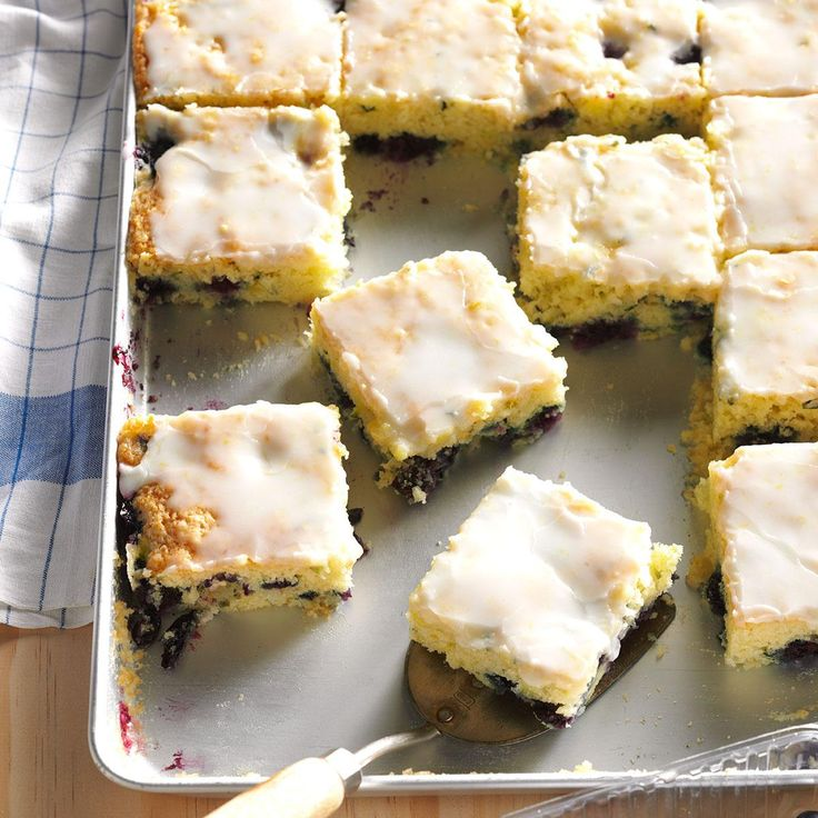 Blueberry Zucchini Squares Recipe -I saw a bar recipe using apple and lemon peel on a muffin mix box. I tried it from scratch with shredded zucchini and fresh blueberries instead. It's a nifty combo. —Shelly Bevington, Hermiston, Oregon