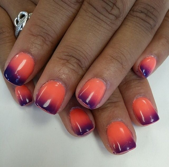 Orange And Purple Sunset Ombre Nails Perfect For Summer Purple Sunset Orange Purple Nails