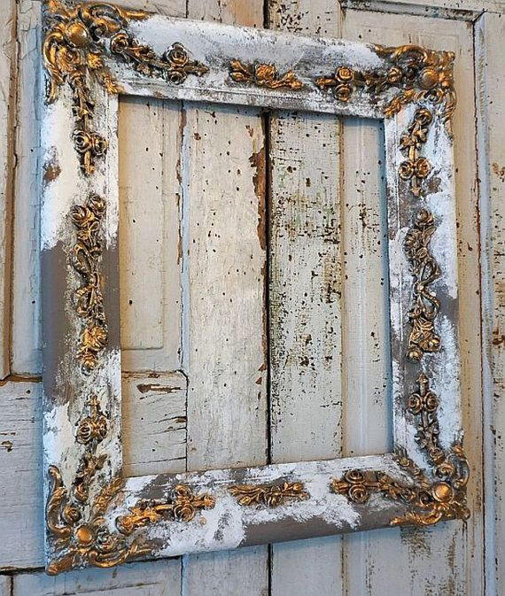 Distressed wood picture frame w/ gesso rose vines wall hanging ornate white gray French Nordic farmhouse roses home decor anita spero design