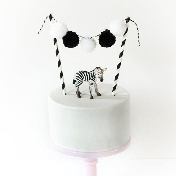 Pom Pom pom pom garland, cake topper, party, wedding, birth, colorful, black, white