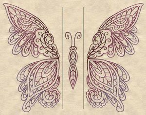 Mendhika Butterfly (Split) | Urban Threads: Unique and Awesome Embroidery Designs