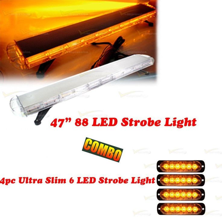 "47"" 88 LED Strobe Light Bar + 4X Ultra Slim 6 LED Flashing Emergency Beacon Warn #Vimpression"