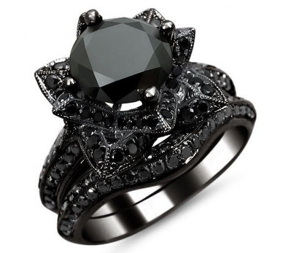 diamond lotus flower ring | 0ct Black Round Diamond Lotus Flower Engagement Ring Set 14k Black ...