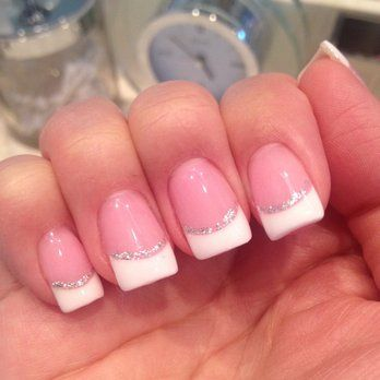 fake nails french tip with sparkle line under - Google Search