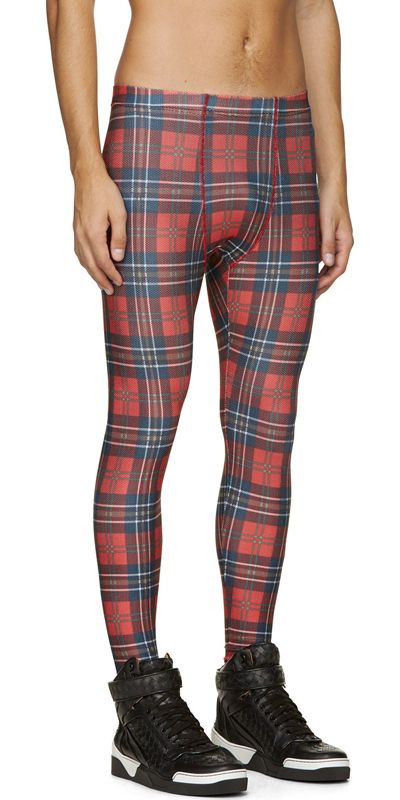 Red Check Mesh Lounge Pants by Phenomenon. Slim fit stretch mesh lounge pants in red, blue, white and green. Plaid pattern throughout. Tonal stitching. 100% polyester. Imported. http://zocko.it/LD2nY