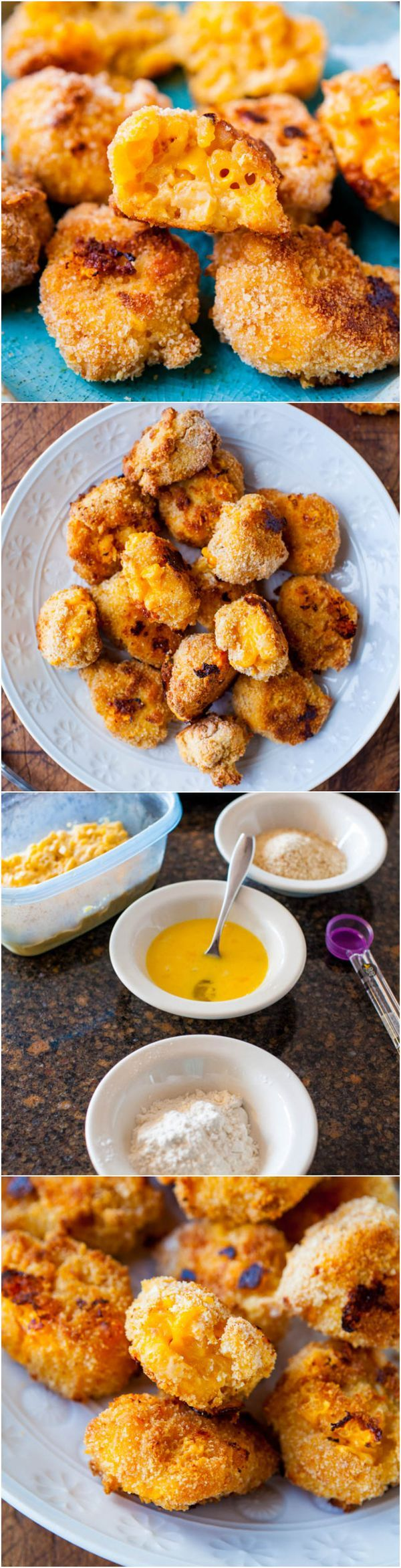 Macaroni and Cheese Baked Cheese Balls - A perfect use for the leftover macaroni that gets cold and old in your refrigerator. Bread it, bake it, devour it!