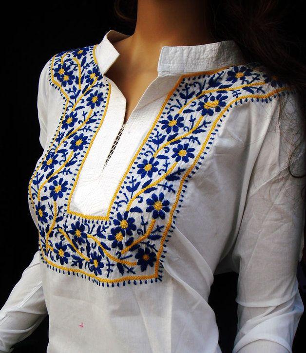 Túnicas - Blanco vestido de túnica larga MIDSUMMER bordado - hecho a mano por embroideredclothing en DaWanda