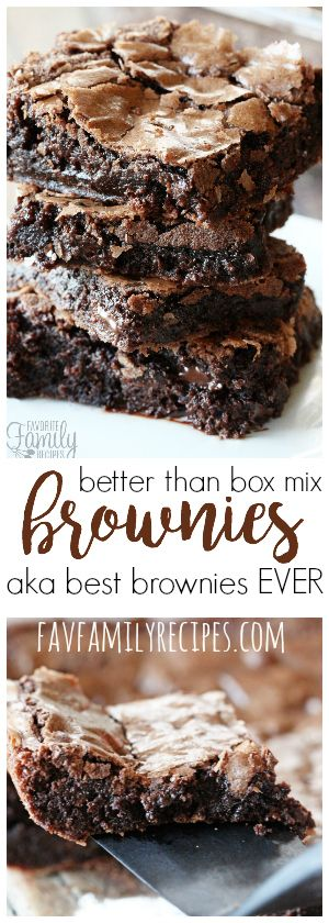 These better than box mix brownies are PERFECT. Ooey and gooey right out of the oven, soft and chewy after they cool with a light, delicate flaky crust. #brownies #chocolate #dessert  via @favfamilyrecipz