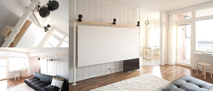 drakmin - Mdf screen for projector, painted with Harmony F499. Held up with IKEA Stolmen poles and glulam beams. 5x2 Orb Audio + Seas L26r