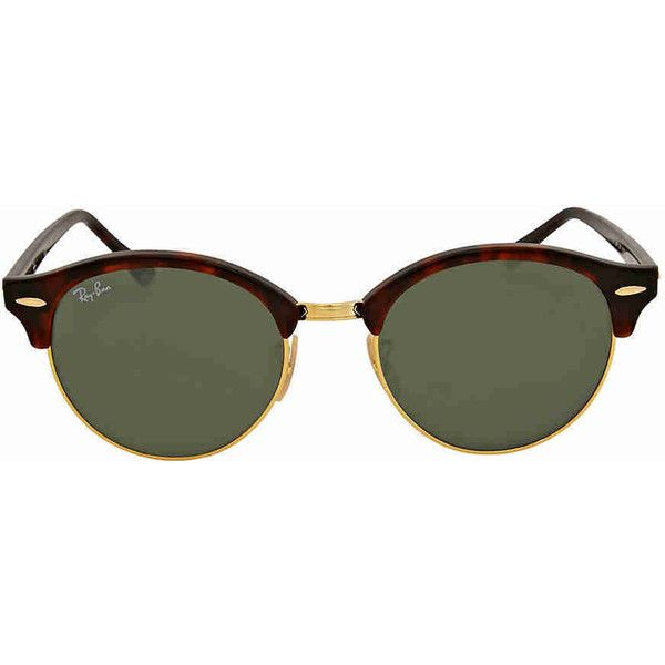 Ray-Ban Clubround Green Classic G-15 Sunglasses (€105) ❤ liked on Polyvore featuring jewelry, watches, tortoise shell jewelry, round watches, tortoise jewelry, green watches and tortoise watches