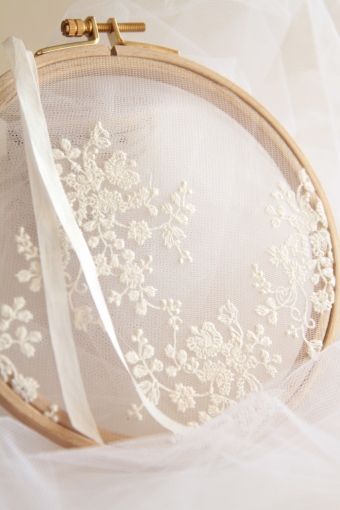 White embroidery on tulle