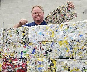 Bricks Made Of Recycled Plastic. Peter Lewis has created an innovative machine that can transform discarded plastic like bottles and bags into rock-hard building bricks. via materialicious
