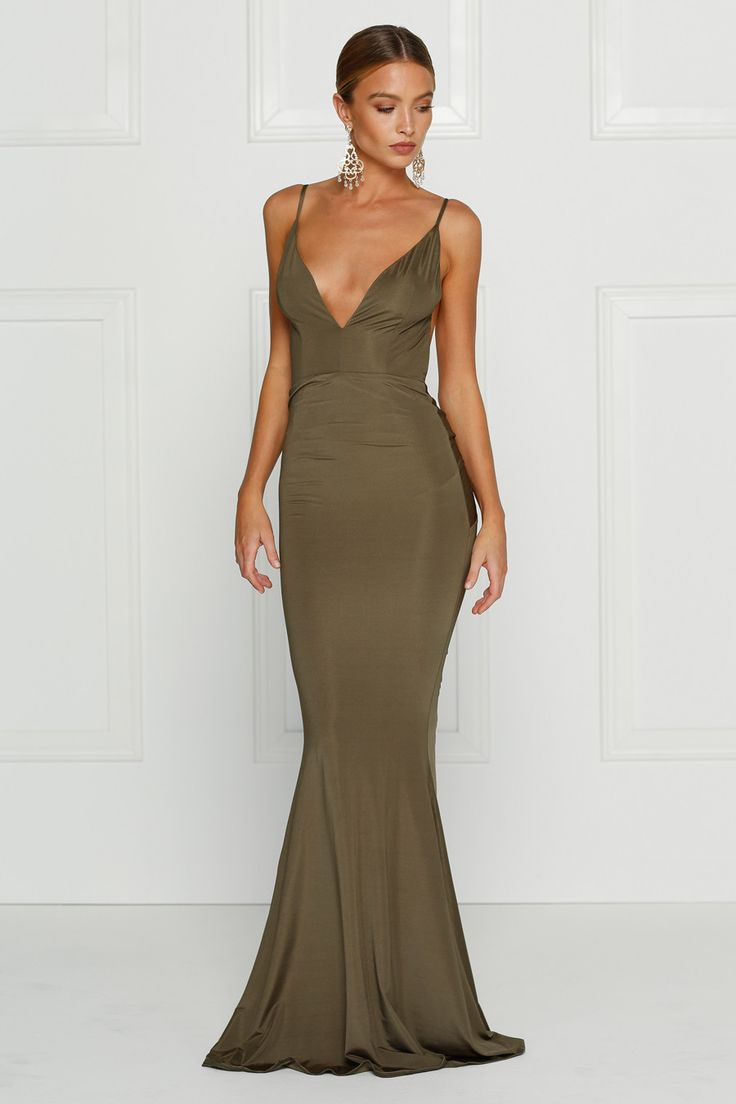 Alamour The Label - Penelope Olive Green Low Back Formal Gown Dress
