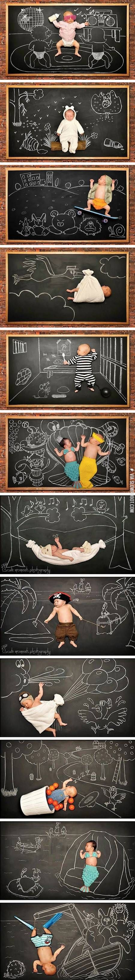 Chalkboard baby photos