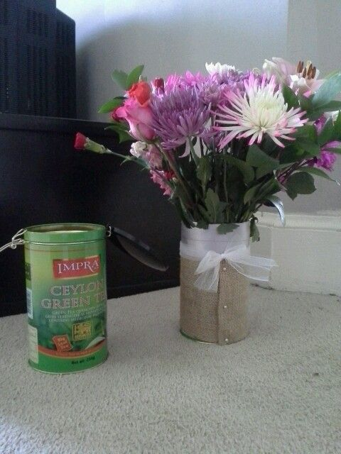 When husband comes home with flowers and I have no vase. #creativity!