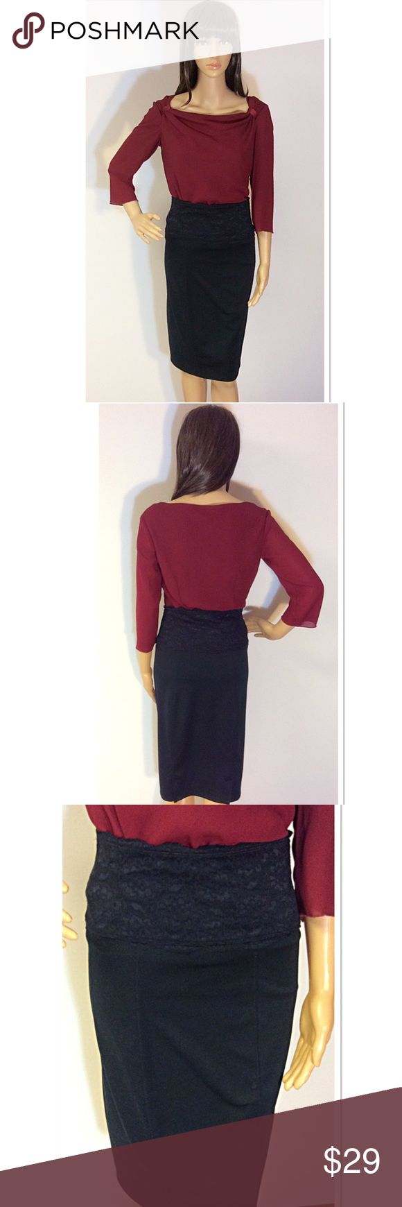 SLIMMING BLACK POLYESTER SPANDEX LACE SKIRT Great body-con black skirt that will slim you like no other. It's curve flattering with a beautiful wide lace waist slim fabulous Skirts