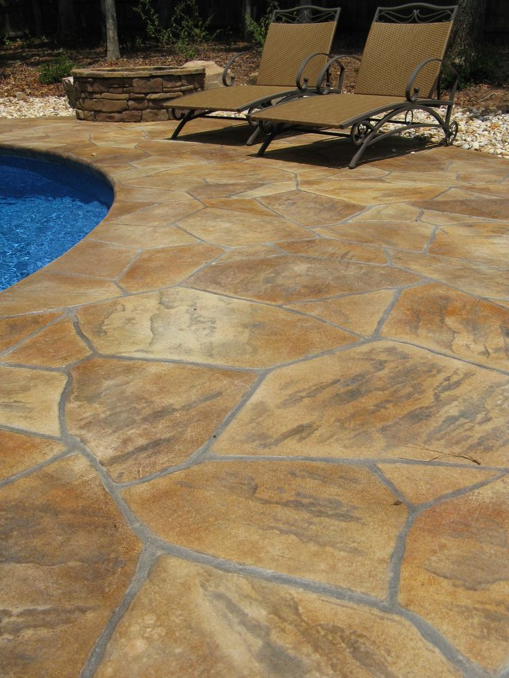 Multi Color Flagstone Pool Deck Stampitcrete Llc