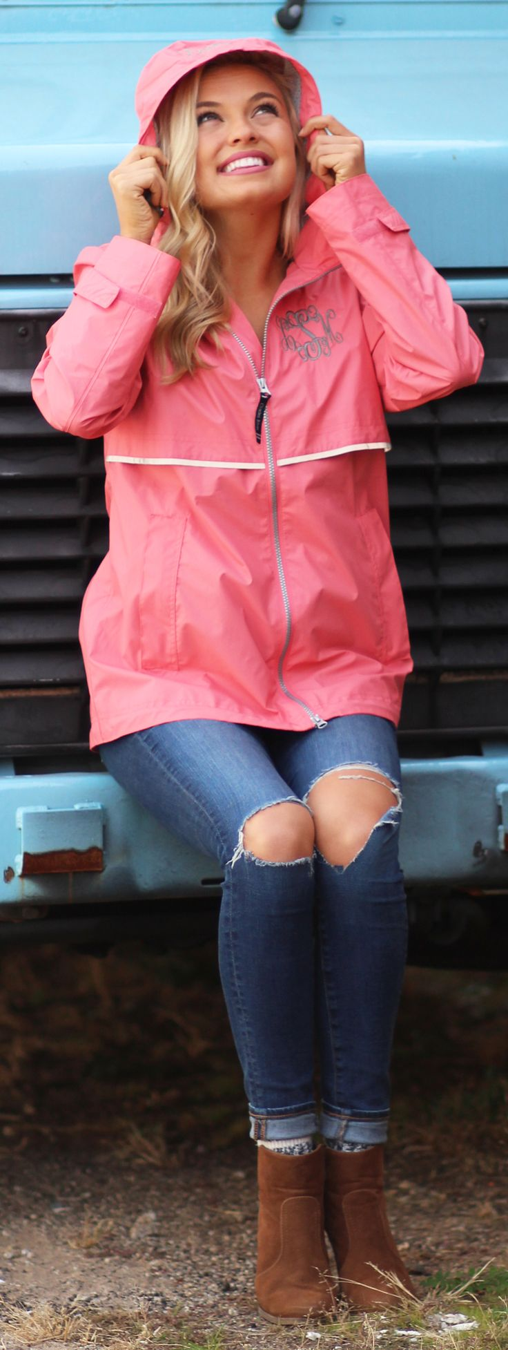 Prepare for those Spring showers & get yourself a Monogrammed New England Rain Jacket!