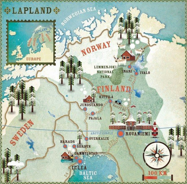 Lapland, Finland, Norway, Sweden map