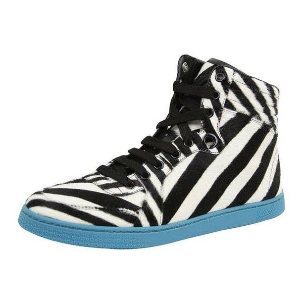 New Gucci Women's White Black Calf Hair Zebra Print High Top Sneakers... ($420) ❤ liked on Polyvore featuring shoes, sneakers, black and white high top sneakers, high-top sneakers, high top shoes, black and white high tops and black white sneakers