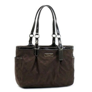 $298.00 Coach Signature East West Gallery Shopper Bag Tote Brown - oach Pleated Khaki Signature East West Gallery Tote trimmed with leather trim.~ A classic Coach bag with an updated look! http://www.amazon.com/dp/B004ICJO5S/?tag=pin0ce-20,
