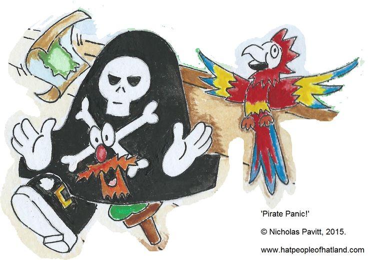 'Pirate Panic!' - Captain Jolly Roger, Parrot, Treasure Map, Ship, Sea, Gold Buckles, Beard, Children's Books, Kidlit, Kidlitart, Picturebooks, Hats, Hatpeople of Hatland.