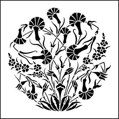 Motif No 3 stencil from The Stencil Library OTTOMAN range. Buy stencils online. Stencil code OTT24.