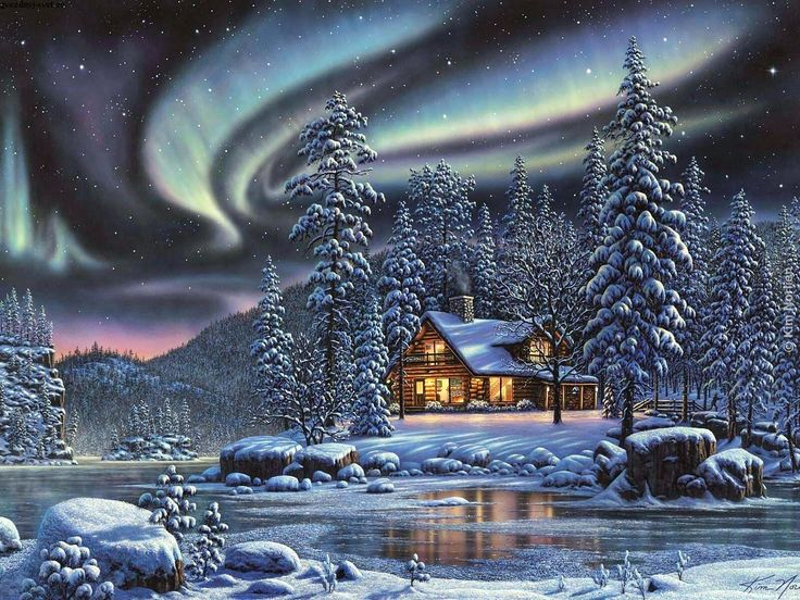 94 best winter painted images on pinterest christmas for Christmas landscape images