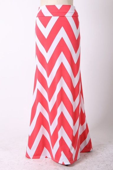 Plus Size Chevron Maxi Skirt Coral - Kelly Brett Boutique