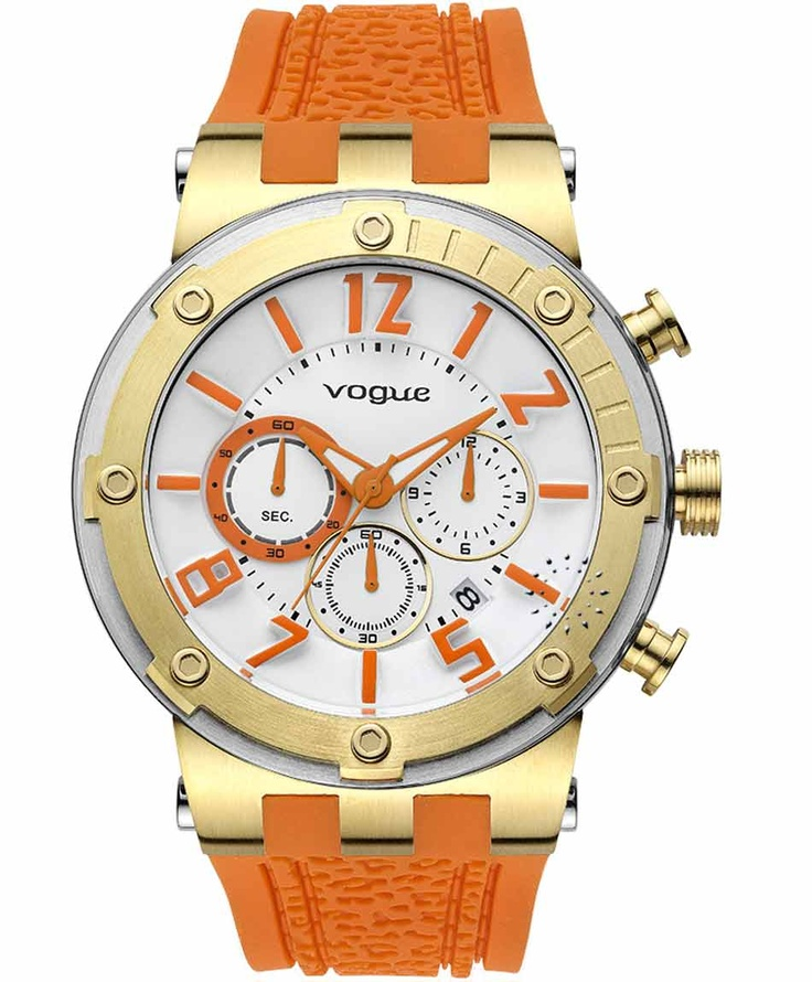 VOGUE Feeling Gold Chrono Orange Rubber Strap Η τιμή μας: 194€ http://www.oroloi.gr/product_info.php?products_id=31609