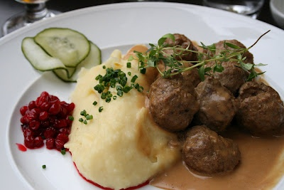 My FAV Swedish food...meatballs, gravy, potatoes, and lingonberries!