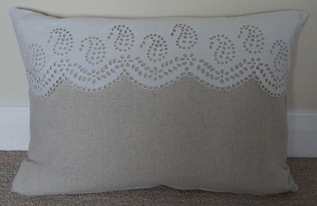 Cushion Pillow Handmade Vintage White Lace Natural Linen £10.00