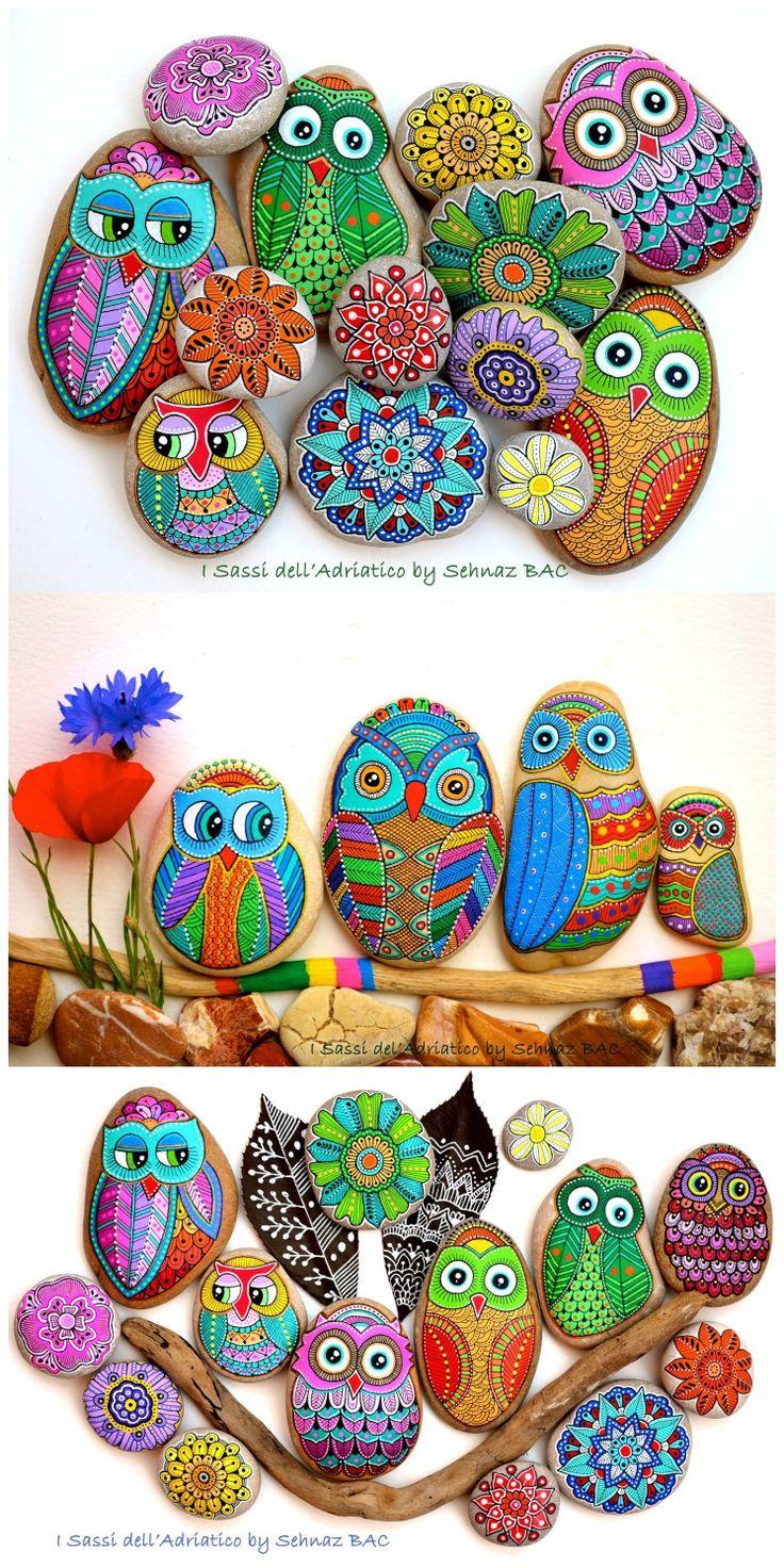 Painted owl rocks Art