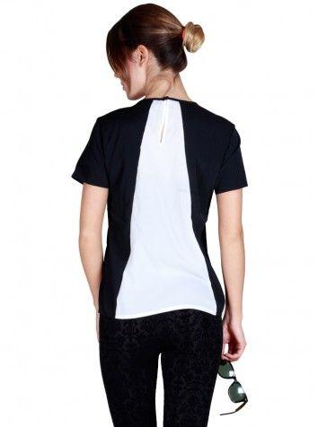Siyah Beyaz Şeritli Kısa Kol Bluz
