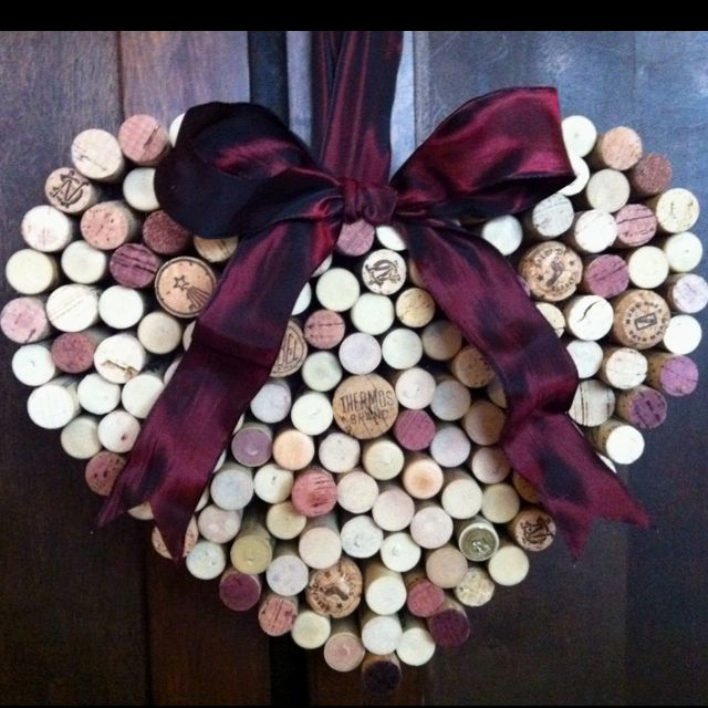 Heart wreath made from wine corks.