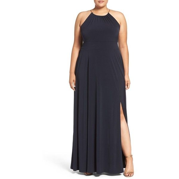 Plus Size Women's Michael Michael Kors Braided Chain Halter Maxi Dress ($155) ❤ liked on Polyvore featuring plus size women's fashion, plus size clothing, plus size dresses, new navy, plus size, halter neck maxi dress, plus size maxi dresses, womens plus size maxi dresses, navy blue maxi dress and plus size halter dress