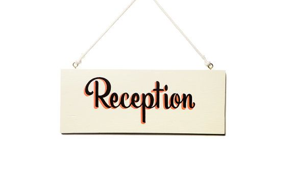 RECEPTION // Ivory Background -- Hand Painted Wedding Sign