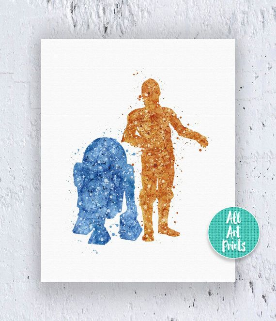 R2D2 and C3Po Star Wars Print Star Wars Printable by AllArtPrints