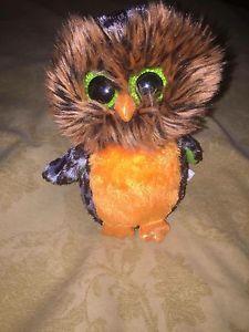 "TY BEANIES BOOS Orange Midnight Owl 6"" Stuffed toy Halloween"