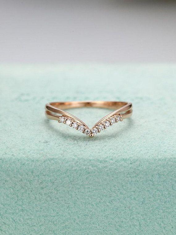 Rose Gold Wedding Band Diamond Curved Wedding Band Women Chevron