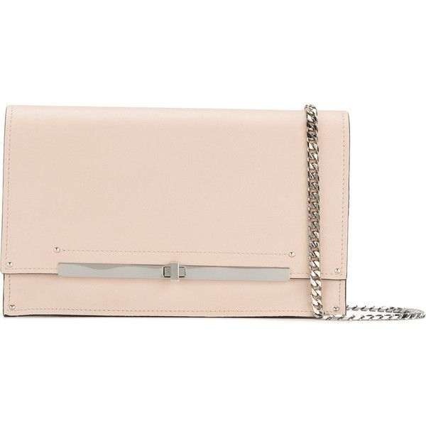 Casadei twist-lock clutch bag ($718) ❤ liked on Polyvore featuring bags, handbags, clutches, studded handbags, pink handbags, real leather handbags, studded clutches and pink leather handbags