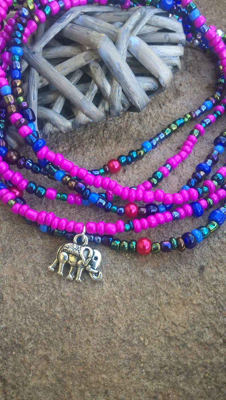 African beaded stretch bracelet, wrap bracelet, Beaded anklet, Beaded necklace, Bohemian wrap bracelet, Elephant charm wrap, Stack Bracelet by AhyokaByBernice on Etsy
