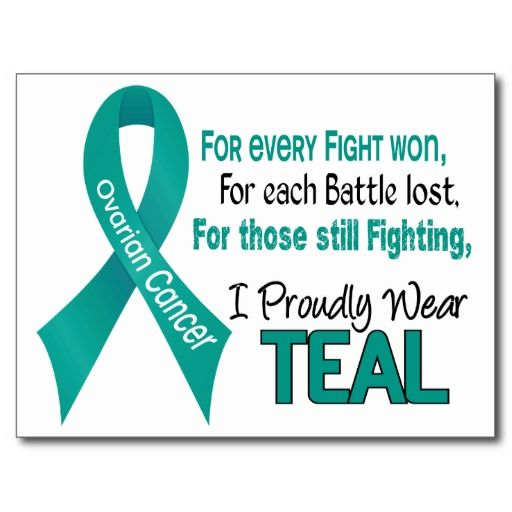 """Support everyone battling Ovarian Cancer, celebrate the Ovarian Cancer Survivors, and honor each person who has lost their Battle to Ovarian Cancer with I PROUDLY WEAR TEAL tshirts and gifts with Teal Ribbon. Ideal for Ovarian Cancer Awareness Month, Ovarian Cancer Walks, Ovarian Cancer Support Events, or anytime!  VISIT <a href=""""http://www.zazzle.com/awarenessgifts""""><font color=Blue>OUR ZAZZLE STORE</a> TO SEE MORE EXCLUSIVE OVARIAN CANCER DESIGNS FOUND ONLY AT AWARENESS GIFT BOUTIQUE, A…"""