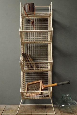 Wire 3 Tier Storage Rack | vincentandbarn.co.uk | Vintage Industrial Storage Solutions | Warehouse Home Design Magazine