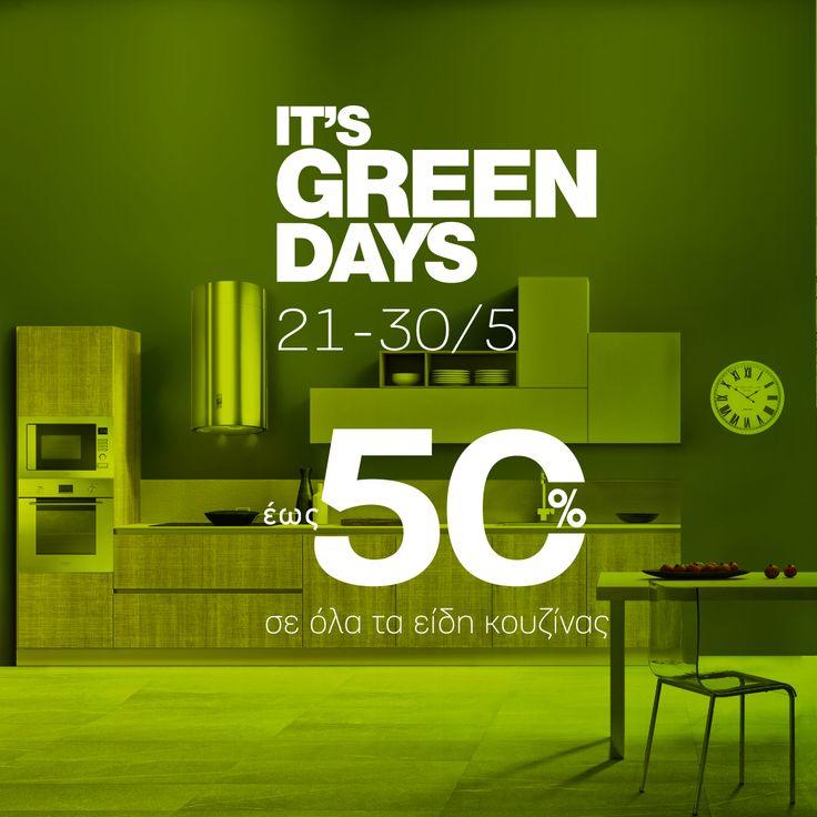 It's Green Days Porcelana ! 21-30/5 #PorcelanaGreenDays σημαίνει #upto50% #sale σε όλα τα είδη κουζίνας, από τις 21 έως και τις 30 Μαΐου. Μοναδικές ευκαιρίες σε έπιπλα κουζίνας κλασικού ή μοντέρνου σχεδιασμού, άνετες τραπεζαρίες, ηλεκτρικές συσκευές που δένουν αρμονικά με τον χώρο, «έξυπνες» μπαταρίες, νεροχύτες & ντουλάπες, που ξεχωρίζουν για την αξεπέραστη αισθητική τους. #FeelingHome @ Porcelana