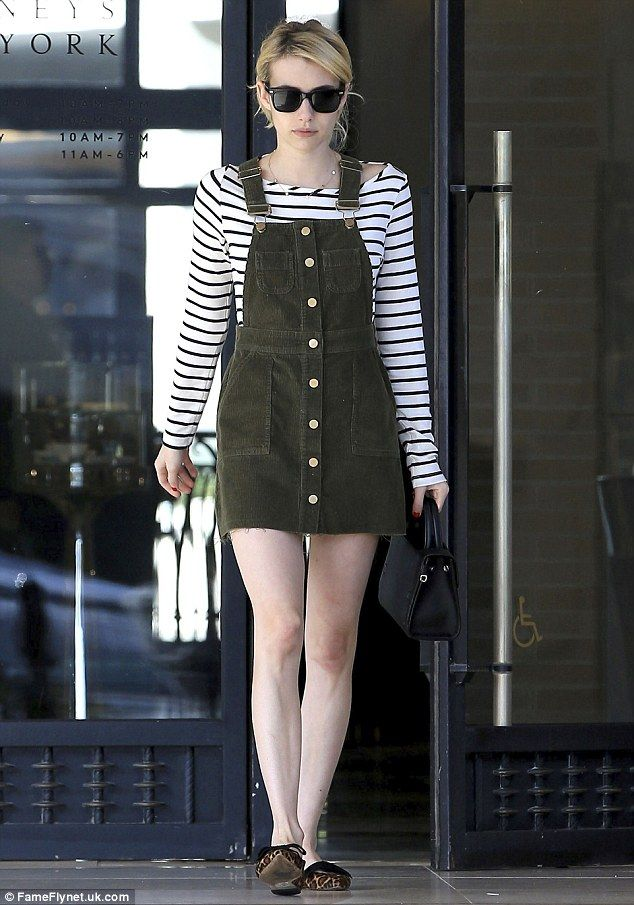 Window shopping: Emma Roberts showed off her slender pins in Beverly Hills on Monday