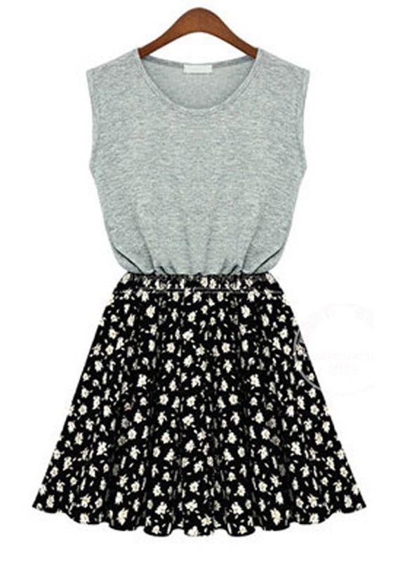 Grey Floral Round Neck Sleeveless Wrap Cotton Dress