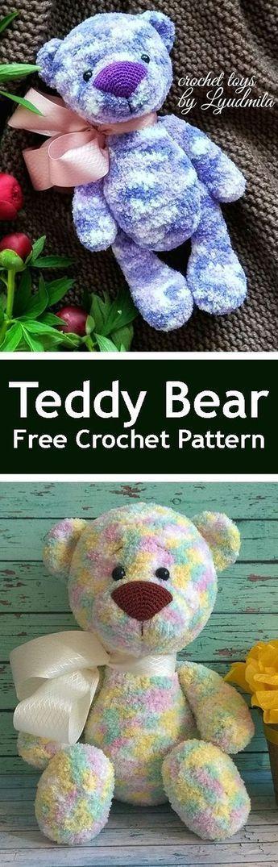PDF Teddy Bear. FREE amigurumi crochet pattern. Бесплатный масте